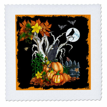 3dRose Halloween night with a black cat, creepy tree, full moon, bats and jack o lanterns - Quilt Square, 10 by 10-inch