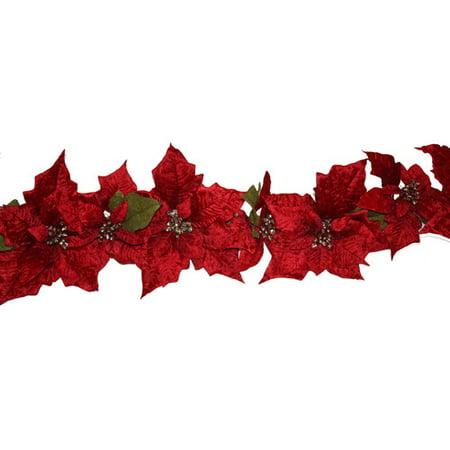 Dyno seasonal solutions christmas poinsettia garland for 5ft poinsettia garland christmas decoration