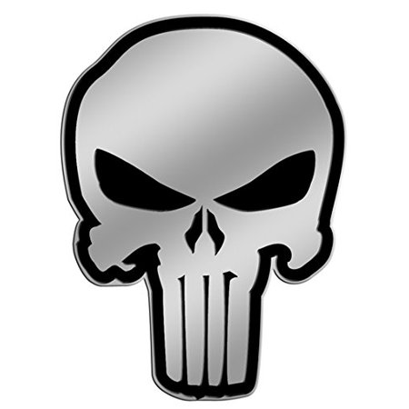 Officially Licensed, Marvel Extreme Punisher Skull Silver Metal Sticker, 4 cm for $<!---->