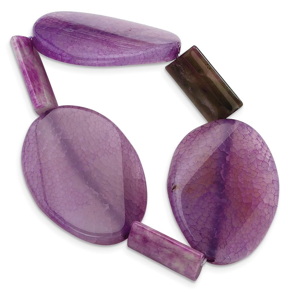 Sterling Silver Crack Agate & Lepidolite Fancy Stretch Bracelet.