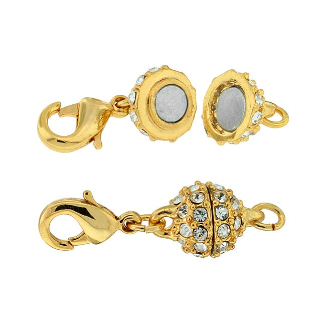 Beadelle Crystal 8mm Round Pave Magnetic Clasp Gold Plated / Crystal (1 Piece)