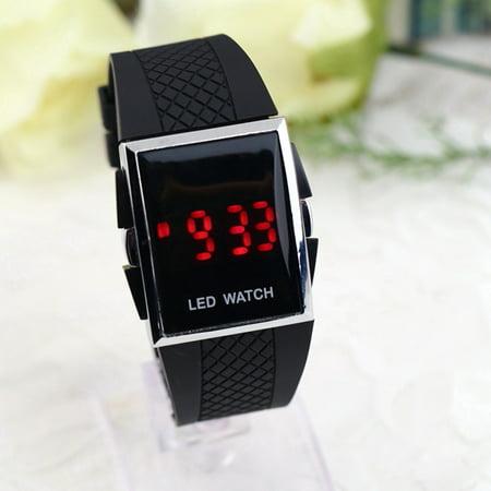 Unisex Sport Digital Led Wrist Watch Day Date Silicone Belt Boys Girls Kid