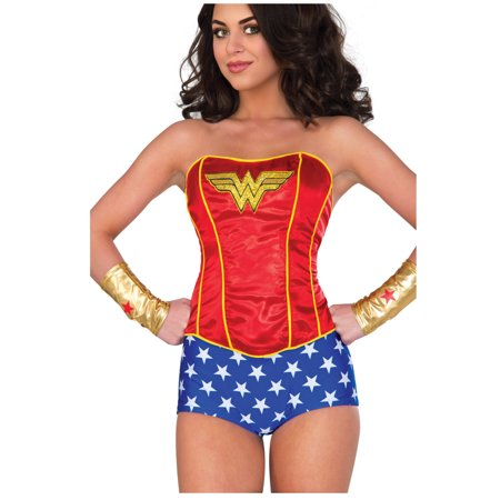 Adult Women's Classic Wonder Woman Sequin Corset Costume Accessory](Womens Corset Costumes)
