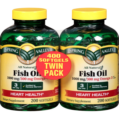 Spring Valley Omega 3 Fish Oil Dietary Supplement Softgels, 1000mg, 200 pc, 2 ct