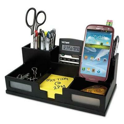 Victor Wool Patterns (Victor Midnight Black Desk Organizer with Smartphone Holder, Wood )