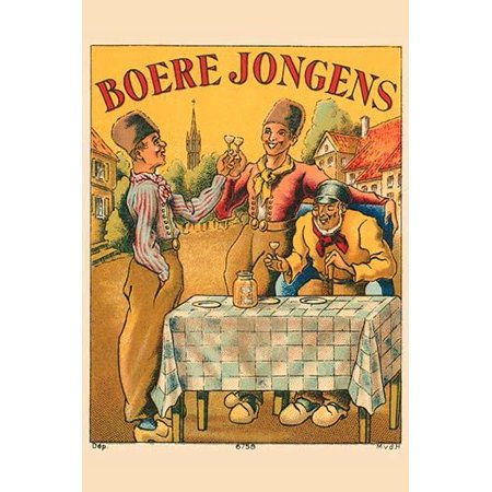 An Early Dutch Liquor Label Featuring Three Dutchman In Wooden Shoes Toasting This Type Of Liquor Is Called Jenever A Juniper Flavored And Strongly