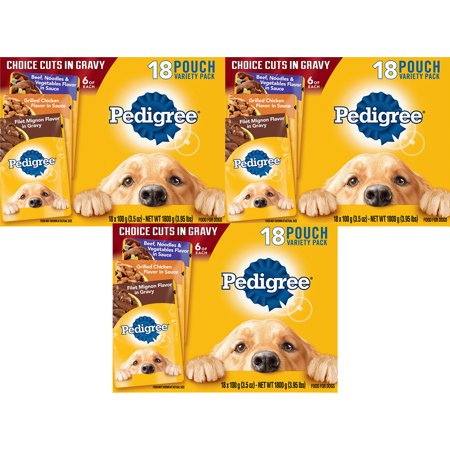 Byers Choice Dogs ((3 Pack) PEDIGREE CHOICE CUTS in Gravy Adult Wet Dog Food Variety Pack, (18) 3.5 oz. Pouches)