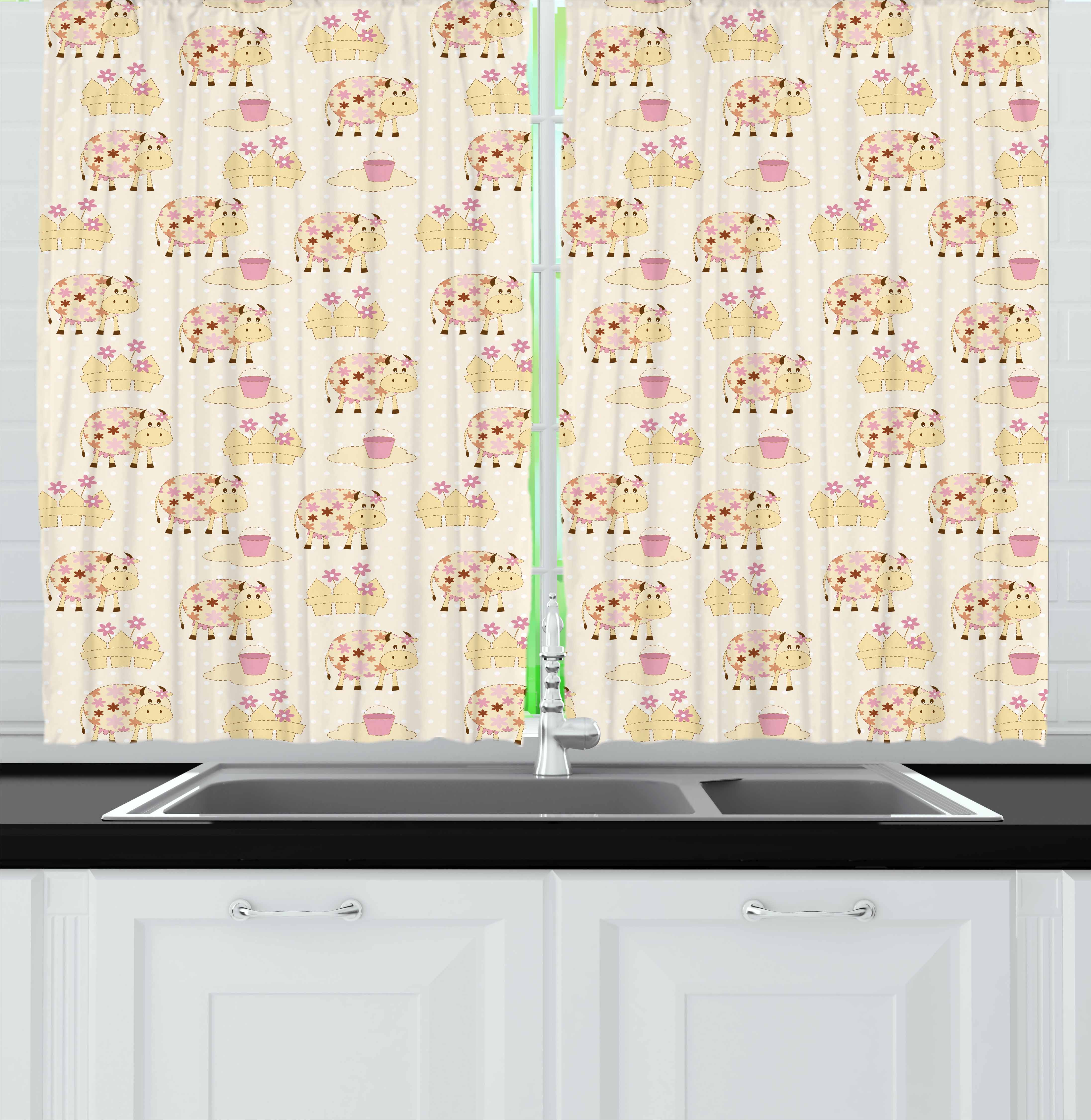 Kids Curtains 2 Panels Set, Cows with Flowers on Polka Dots Agriculture Farm Animal Country Life Inspired, Window Drapes for Living Room Bedroom, 55W X 39L Inches, Cream Pink Brown, by Ambesonne