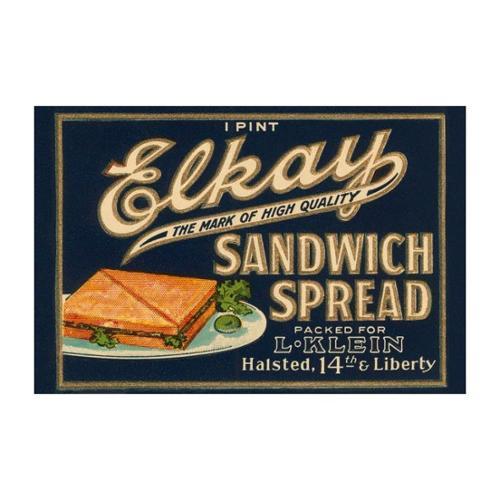 Elkay Sandwich Spread Print (Unframed Paper Poster Giclee 20x29)
