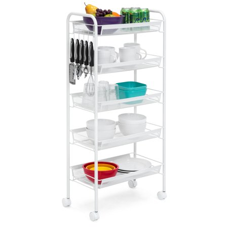 Best Choice Products 5-Tier Multi-function Metal Utility Storage Organizer Trolley for Kitchen, Bathroom, Microwave w/ Removable Perforated Shelves, Hooks, Locking Casters,