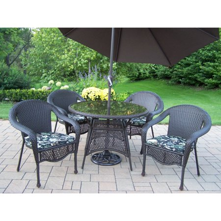 oakland living elite all weather wicker patio dining set with tilting umbrella and stand. Black Bedroom Furniture Sets. Home Design Ideas