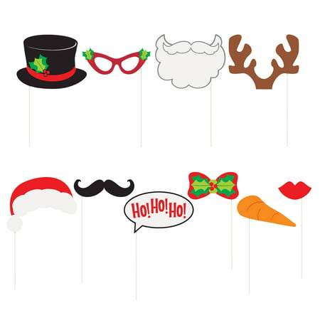 Ho Ho Ho Christmas Photo Booth Props, 10pc (Christmas Props For Photo Booth)