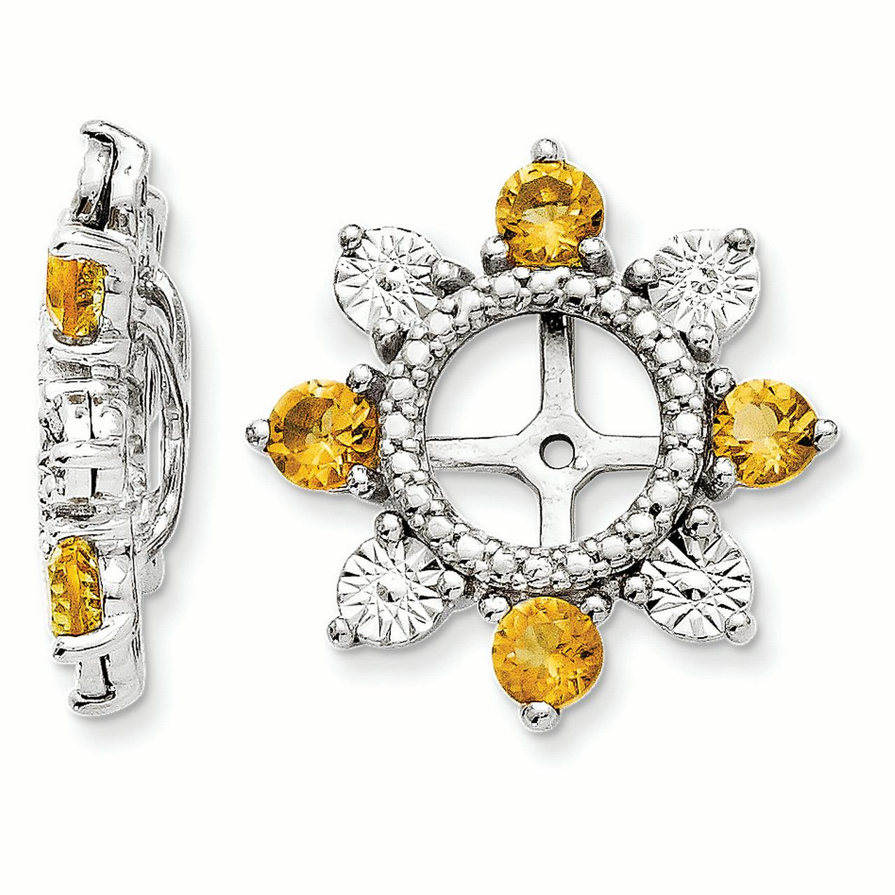 Sterling Silver Citrine Earring Jacket