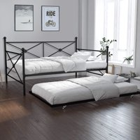 Twin Size Metal Daybed with Trundle, Black