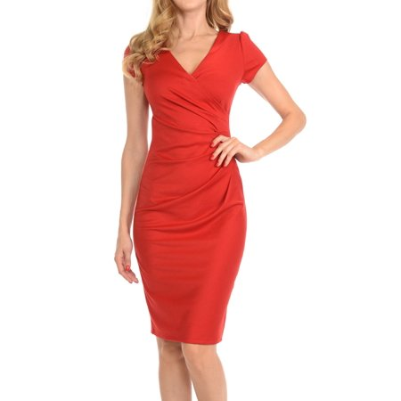 Auliné Collection Womens V-neck Zip Up Work Office Career Side Wrap Sheath Dress Red Small