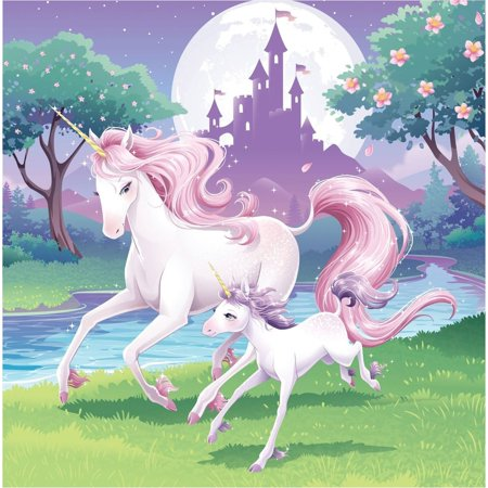 Unicorns Mom And Baby Trees Castle Moonlight Edible Cake Topper Image ABPID00208V2