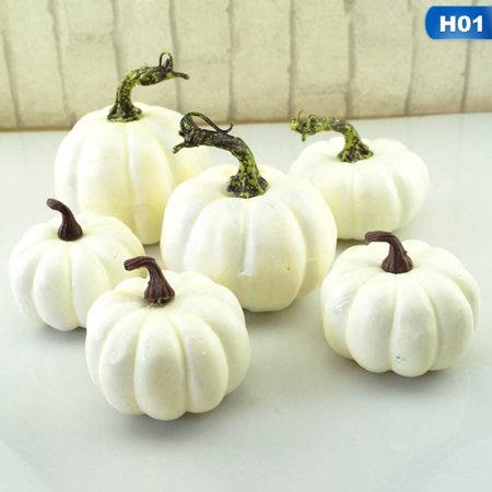 Halloween Display Platforms (KABOER 6-12Pc DIY Simulation White Colorful Pumpkins Halloween Party Garden Decor)