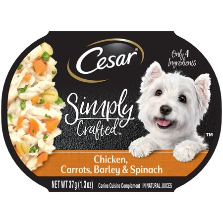 (10 Pack) CESAR SIMPLY CRAFTED Adult Wet Dog Food Cuisine Complement, Chicken, Carrots, Barley & Spinach, 1.3 oz. Tub