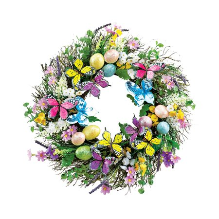 Grapevine Twig Spring Easter Wreath for Front Door with - Butterfly Wreath