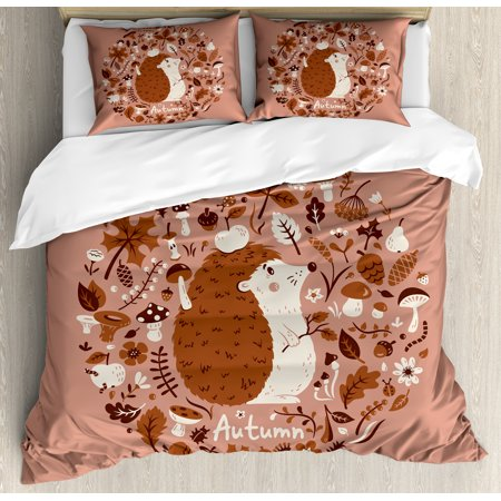 Hedgehog Duvet Cover Set, Autumn Theme Animal Image with Many Season Elements Pine Cone Leaves Soft Colors, Decorative Bedding Set with Pillow Shams, Coral Brown, by Ambesonne ()