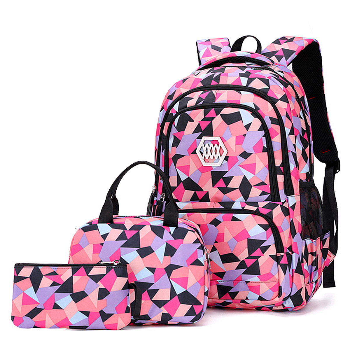 3pcs Kids Grils Lightweight Primary Students Bookbag Backpack Nylon Shoulder Bag