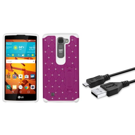 Insten Dual Layer Case W Stand Diamond For Lg Magna Volt 2   Hot Pink White   Usb Data Charging Cable