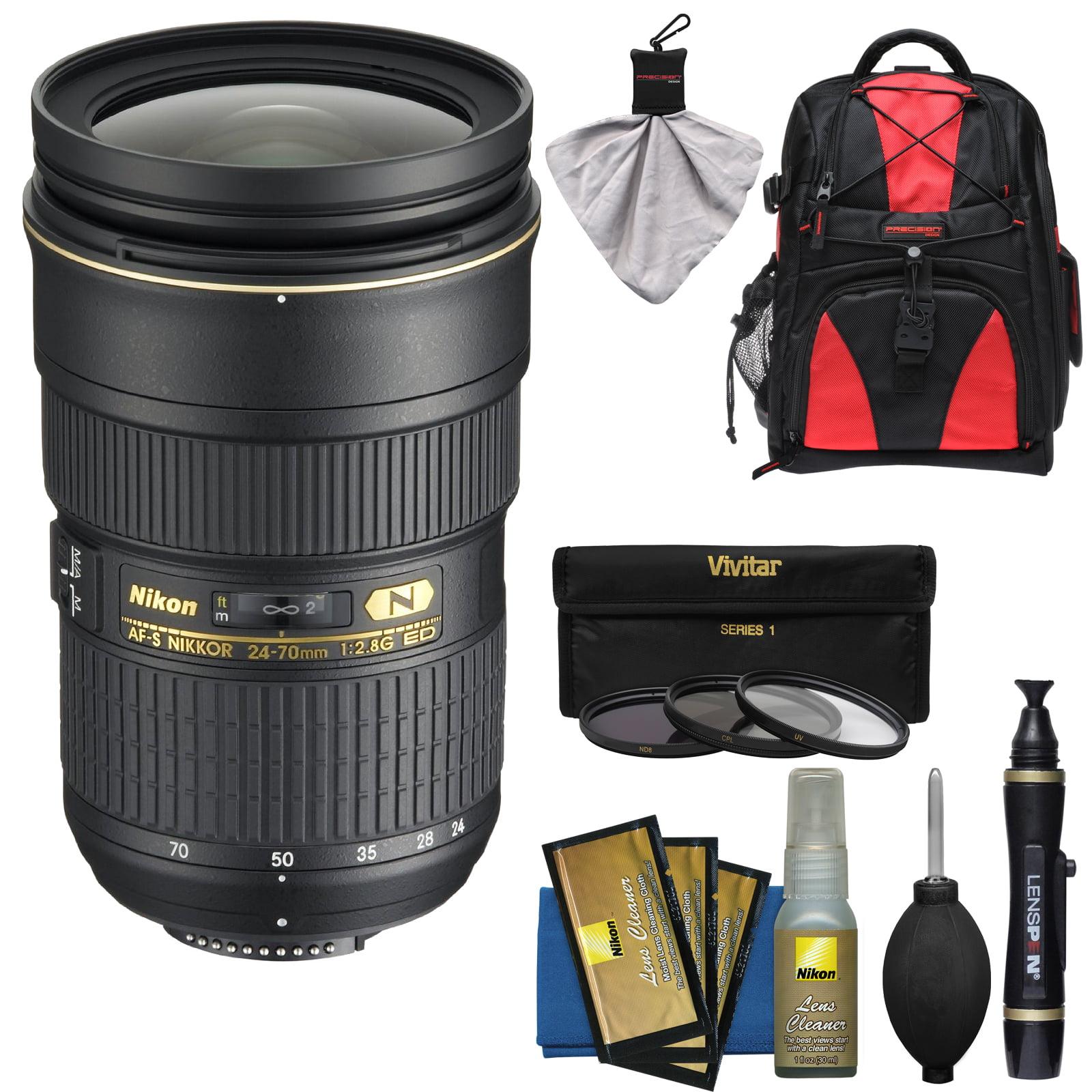 Nikon 24-70mm f/2.8G AF-S ED Zoom-Nikkor Lens with Backpack + 3 Filters + Kit for D3200, D3300, D5300, D5500, D7100, D7200, D750, D810 Cameras