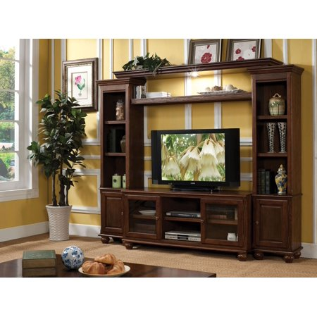 1PerfectChoice Dita Walnut wood TV Stand Entertainment Center Set