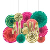 Aloha Deluxe Paper Fan Decoration Kit, 17pcs