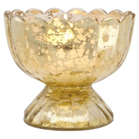 Sundial Design - Vintage Mercury Glass Candle Holder (3-Inch, Suzanne Design, Sundae Cup Motif, Gold) - For Use with Tea Lights - For Home Decor, Parties, and Wedding Decorations