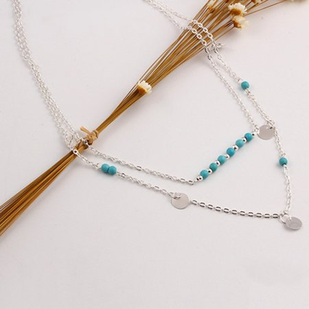 Women Cute Romantic Pendant Necklaces Lady Chain Double Sequined Necklace For Women gift