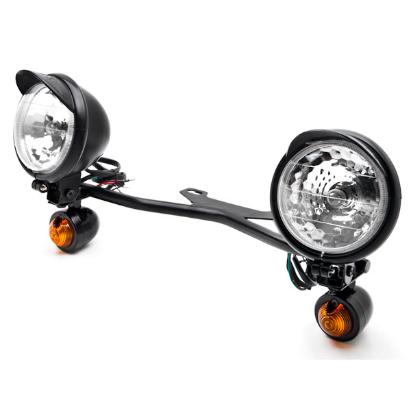 Krator® Black Motorcycle Driving Passing Spotlight Light Bar & Turn Signals Cruiser