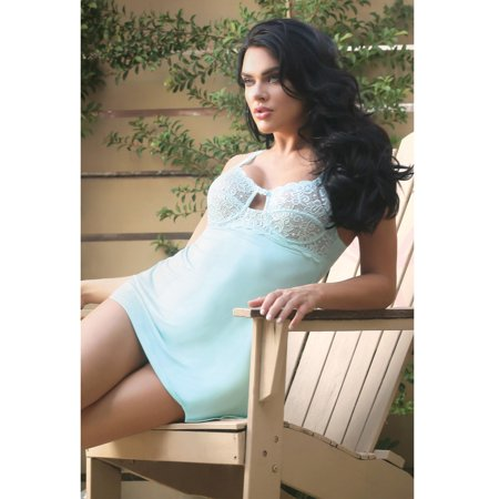 Spring Sweet Pea Underwire Lace Chemise & G-string Aqua - Underwired Chemise