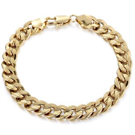 Hermah 9mm Hammered Curb Cuban Bracelet Mens Boys Chain 9inch