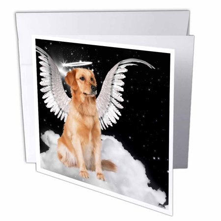 3dRose Golden Retriever Angel Dog Sitting on a Cloud with a cute Halo and Angel Wings, Greeting Cards, 6 x 6 inches, set of 12 (Angel Wings And Halo Set)