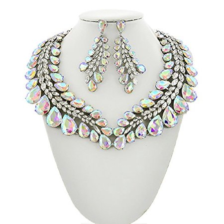 - 2Chique Boutique Women's AB Glass and Clear Rhinestone Statement Necklace Set (AB Glass)