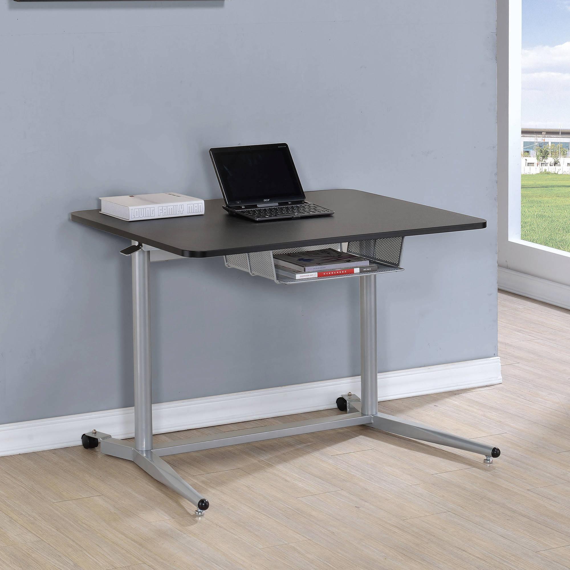 Coaster Adjustable Desk in Black and Silver