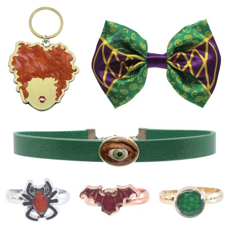 Mary Sanderson Hocus Pocus Costume (Party City Hocus Pocus Winifred Sanderson Costume Accessories for Adults, with Hair Bow, Choker, 3 Rings, and)