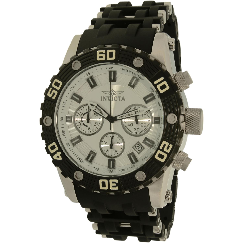 Invicta 22089 Men's Sea Spider Chronograph Silver Dial Steel and Silicone Bracelet Quartz Watch