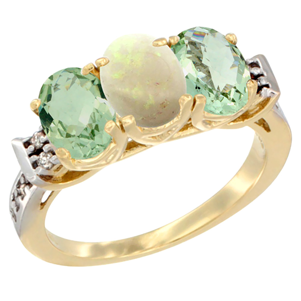 10K Yellow Gold Natural Opal & Green Amethyst Sides Ring 3-Stone Oval 7x5 mm Diamond Accent, sizes 5 10 by WorldJewels