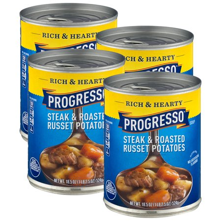 (4 Pack) Progresso Rich & Hearty Steak & Roasted Russet Potatoes Soup 18.5 oz