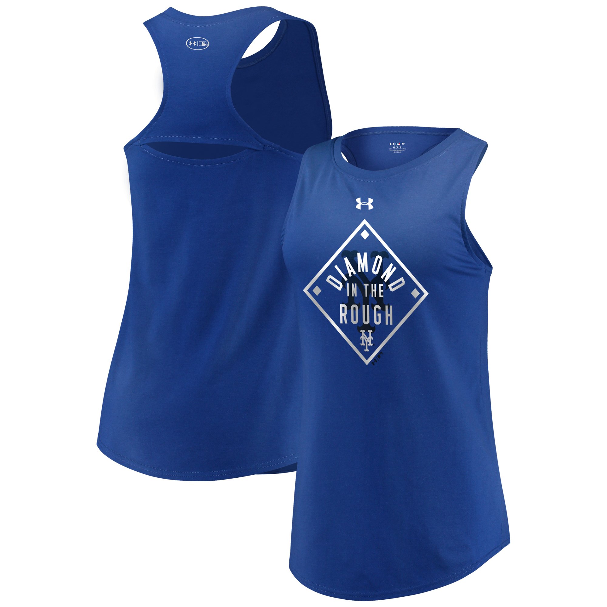 New York Mets Under Armour Women's Passion Diamond Tri-Blend Performance Tank Top Royal by MAJESTIC LSG