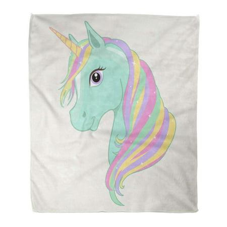 ASHLEIGH Flannel Throw Blanket Baby Green Mint Unicorn Head Rainbow Mane and Horn Cartoon 58x80 Inch Lightweight Cozy Plush Fluffy Warm Fuzzy - Head Throw Blanket