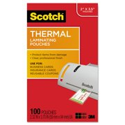 "Scotch Laminating Pouches, 5 mil, 3.75"" x 2.38"", Gloss Clear, 100/Pack -MMMTP5851100"