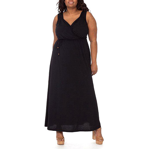Plus Moda Women's Plus-Size Surplice Knit Maxi Dress with Tie At Waist
