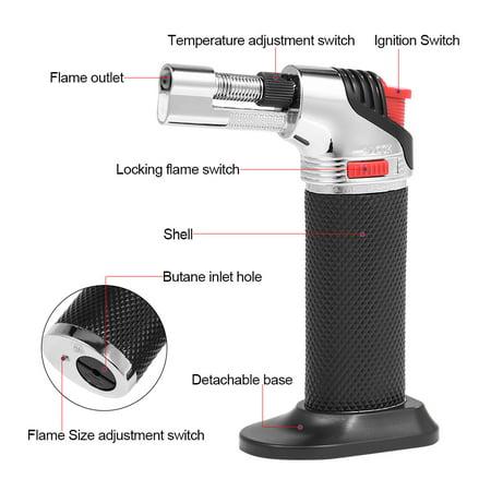 HURRISE Butane Micro Torch,Black Adjustable Flame Outdoor Barbecue Butane Micro Torch Refillable Gas Cigar Lighter - image 2 de 6