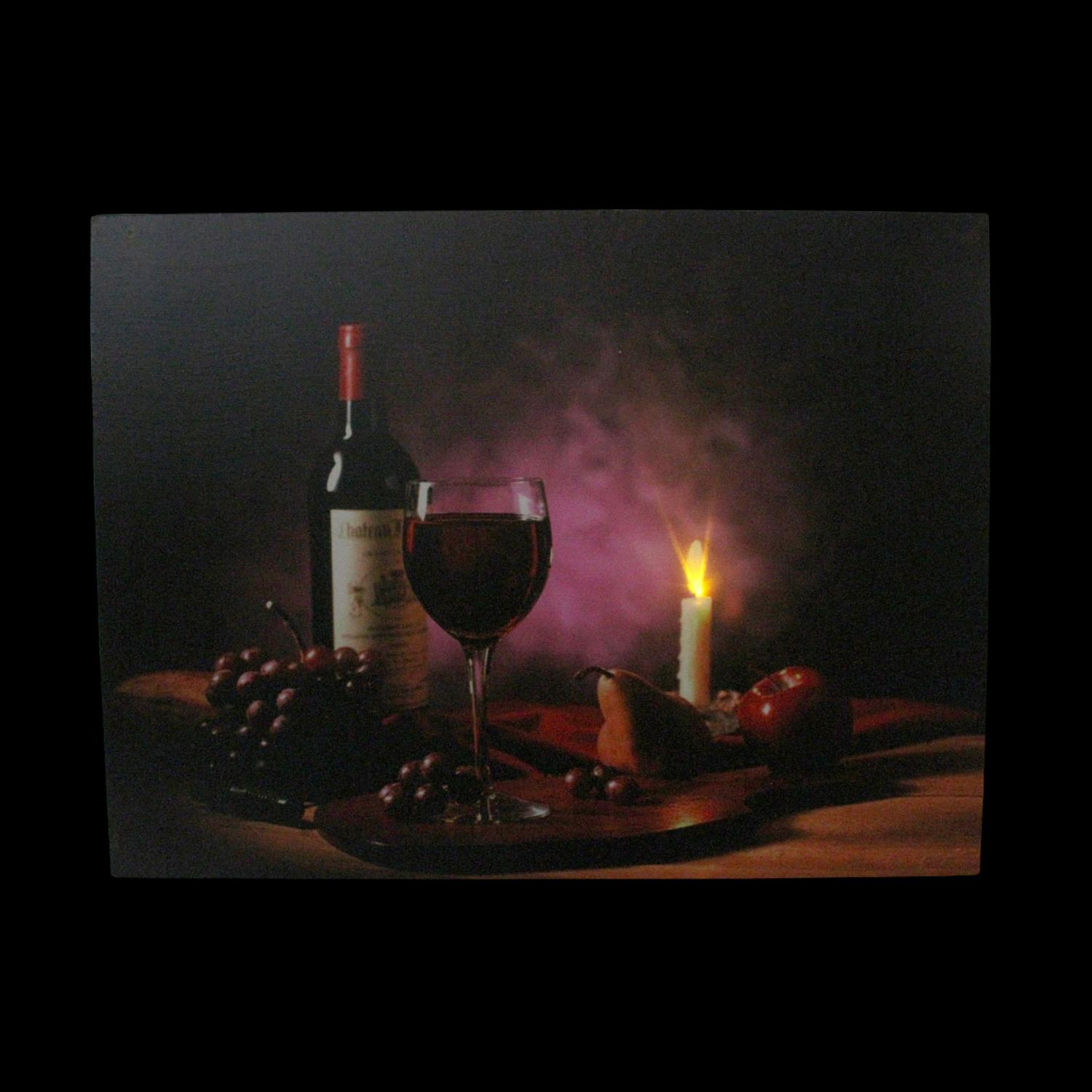 Led Lighted Flickering Wine Fruit And Candle Canvas Wall