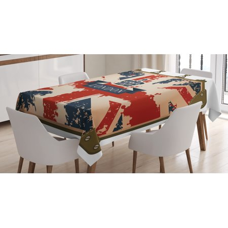 Union Jack Tablecloth Vintage Travel Suitcase With British Flag London Ribbon And Crown Image Rectangular Table Cover For Dining Room Kitchen 60 X
