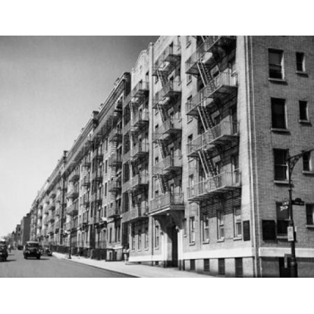 Apartments along a road New York City New York State USA Canvas Art -  (18 x 24)