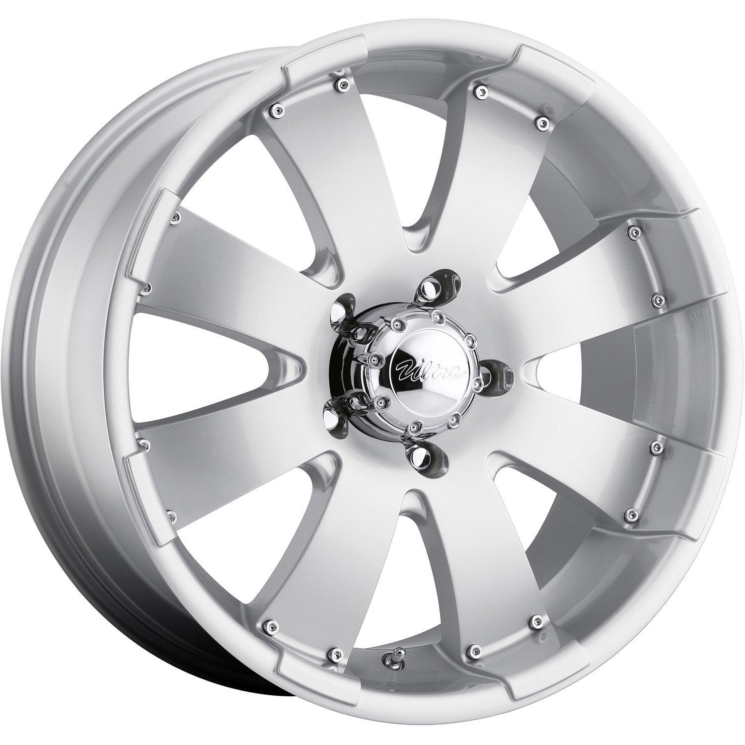 Ultra Mako 17 Silver Wheel / Rim 5x5.5 with a 10mm Offset and a 108 Hub Bore. Partnumber 243-7885S